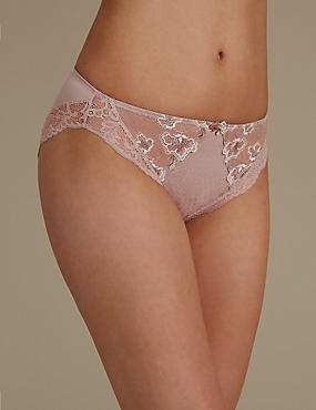 Floral Embroidered High Leg Knickers