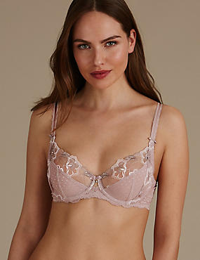 Embroidered Non-Padded Full Cup Bra B-DD, NUDE MIX, catlanding