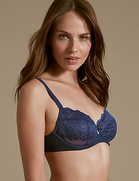 Sumptuously Soft Lace Ultimate Comfort Non Padded Balcony Bra A-DD