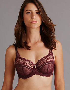 Ornamental Embroidery Non Padded Underwired Balcony Bra DD-G