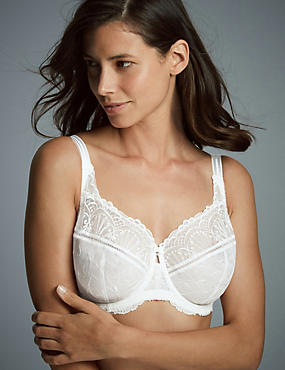 Ornamental Embroidery Non-Padded Underwired Balcony Bra DD-G