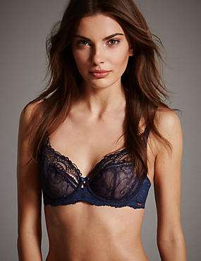 Ornamental Embroidered Non-Padded Balcony Bra A-DD