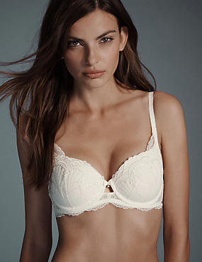 Ornamental Embroidery Padded Underwired Balcony Bra A-E