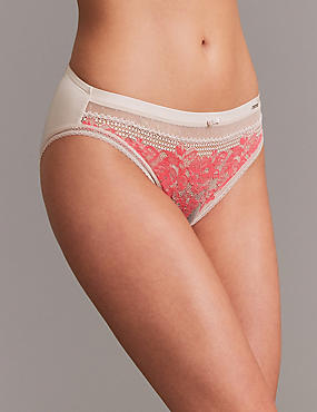 Lace Embroidered High Leg Knickers, WATERMELON, catlanding