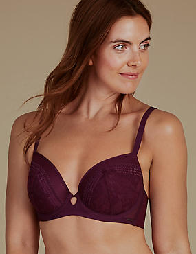 Lace Embroidered Padded Balcony Bra A-G, PURPLE MIX, catlanding