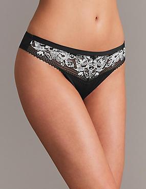 Floral Lace Thong, BLACK MIX, catlanding