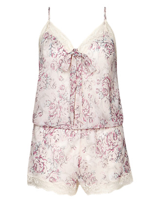 Printed Silk Chiffon Teddy with French Designed Rose Lace Clothing