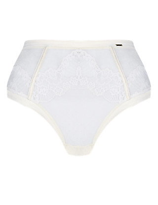 High Waisted Floral Lace Thong Clothing