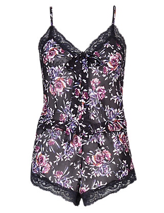 Rose Print Chiffon Lace Teddy Clothing