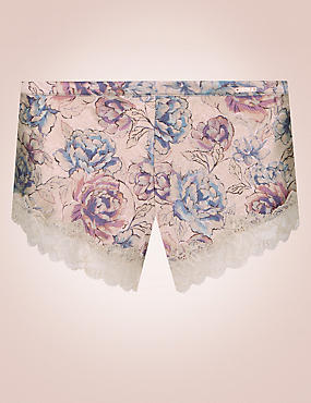 Silk & Lace Print French Knickers