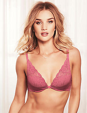 Silk and Lace Padded Beau Plunge Bra A-E