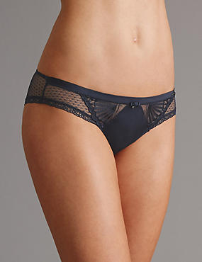 Embroidered Brazilian Knickers, NAVY, catlanding