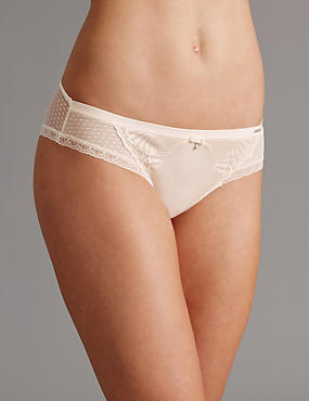Embroidered Brazilian Knickers, CREAM, catlanding