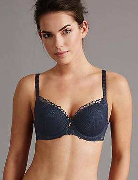 Embroidered Padded Balcony Bra A-E, NAVY, catlanding
