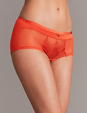 Embroidered High Rise Shorts, FLAME, catlanding