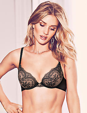 Padded Underwired Plunge Bra A-E