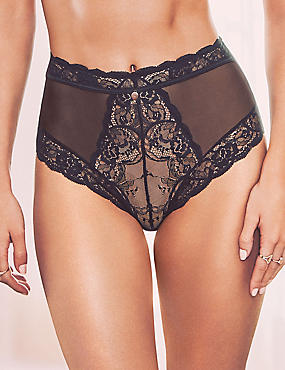 Lace-up High Waist Brazilian Knickers