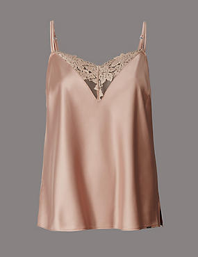 Applique Lace & Satin Camisole