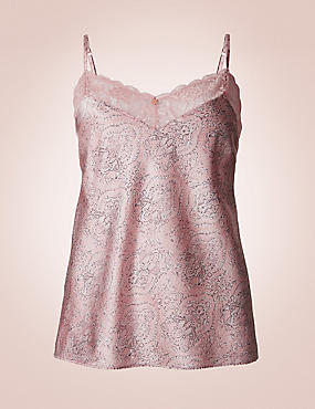 Silk & Lace Paisley Print Camisole