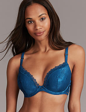 Satin Embroidered Trim Padded Plunge Bra A-E