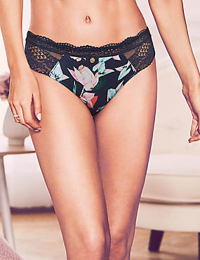 Silk & Lace Floral Print Brazilian Knickers