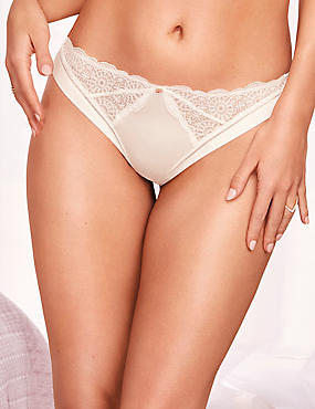 Embroidered Brazilian Knickers, IVORY, catlanding