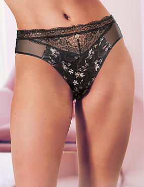 Printed High Leg knickers with Silk, BLACK MIX, catlanding