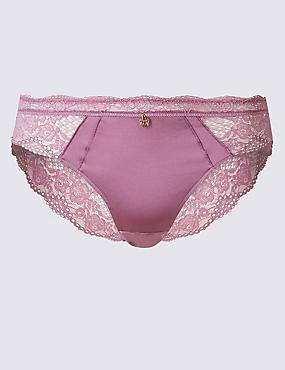 Silk & Lace Brazilian Knickers, DARK LILAC, catlanding