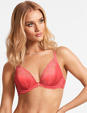 Lace Padded Plunge Bra A-E with Silk, CORAL, catlanding