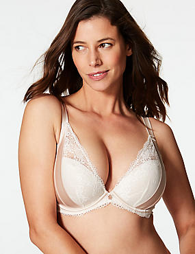 Lace Padded Plunge Bra DD-G with Silk