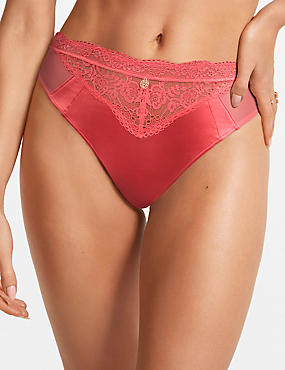 Silk & Lace High Leg Knickers, CORAL, catlanding