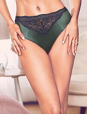 Silk & Lace High Leg Knickers, ANTIQUE GREEN, catlanding
