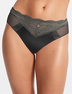 Silk & Lace High Leg Knickers, GREY MIX, catlanding