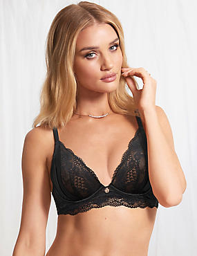 Lace Non-Padded Plunge Bra B-DD with Silk