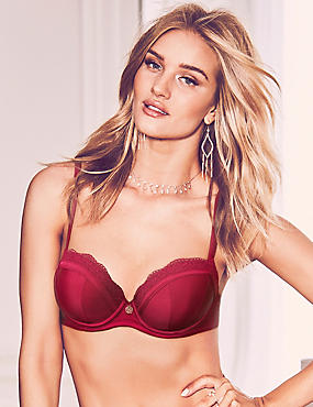 Lace Padded Balcony Bra A-E with Silk, DARK RED, catlanding