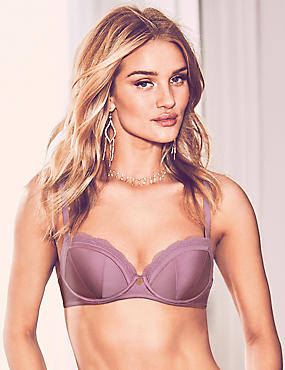 Lace Padded Balcony Bra A-E with Silk, DARK LILAC, catlanding