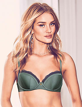 Lace Padded Balcony Bra A-E with Silk, ANTIQUE GREEN, catlanding