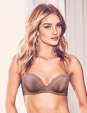 Lace Padded Balcony Bra A-E with Silk, , catlanding