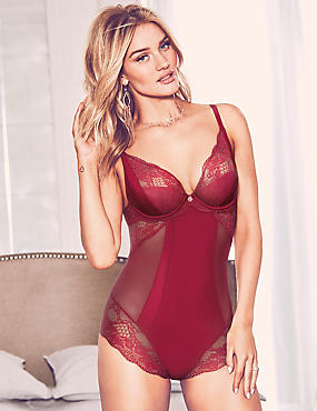 Silk & Lace Body, DARK RED, catlanding