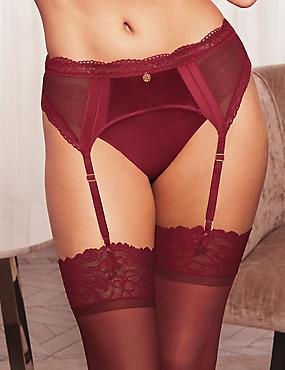Silk & Lace Suspender, DARK RED, catlanding