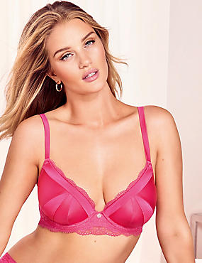 Lace Padded Plunge Bra A-E with Silk, PINK, catlanding