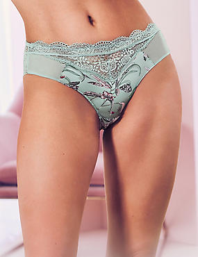 Printed High Leg Knickers with Silk , MINT MIX, catlanding