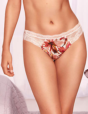 Silk & Lace Floral Print Brazilian Knickers, CREAM MIX, catlanding