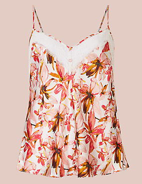 Silk & Lace Floral Print Camisole, CREAM MIX, catlanding
