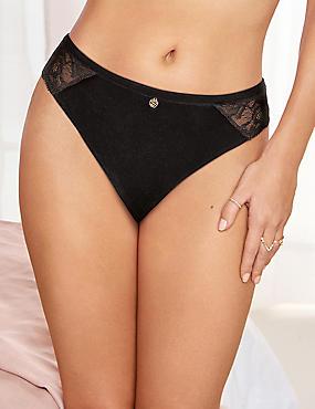 Velvet Lace Brazilian Knickers , BLACK, catlanding
