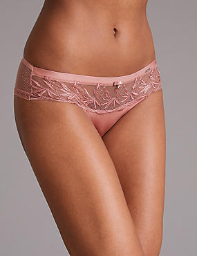 Embroidered Brazilian Knickers, PINK, catlanding