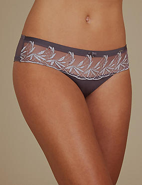 Embroidered Brazilian Knickers, GREY MIX, catlanding