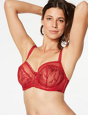 Embroidered Non-Padded Balcony Bra DD-G, RED, catlanding