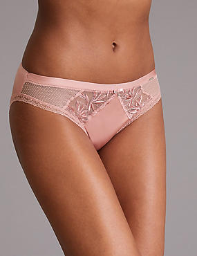 Embroidered High Leg Knickers, PINK, catlanding