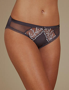 Embroidered High Leg Knickers, GREY MIX, catlanding